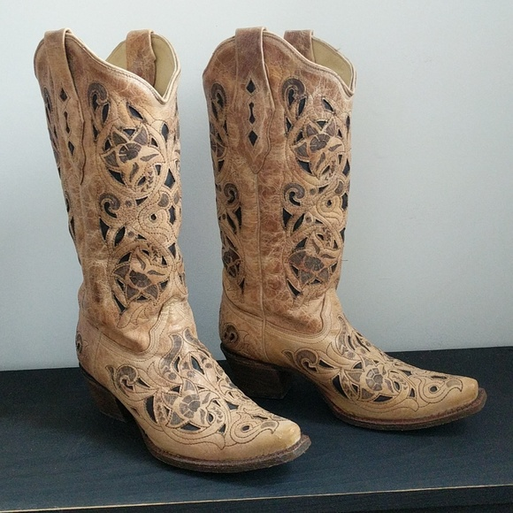 7d84bb08dd7 Corral Antique Saddle Brushed Inlay Cowgirl Boots